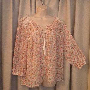 Ladies Boho semi sheer blouse